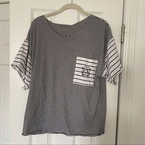 Stripped tee with pocket detail